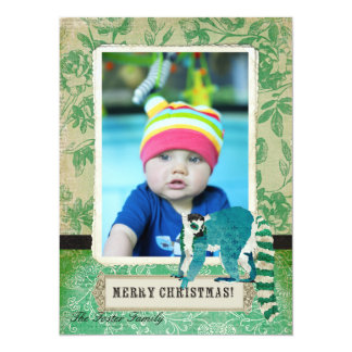Lemur Jade Rose Christmas Photo Card Personalized Announcements
