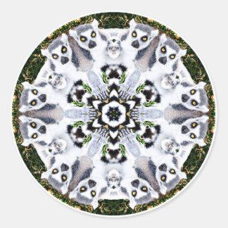 Lemur Kaleidoscope Classic Round Sticker