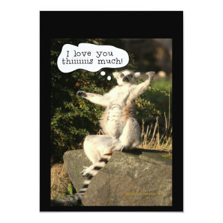 Lemur Love You This Much Funny  Fathers Day 5x7 Paper Invitation Card