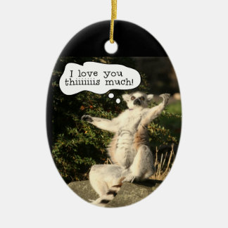 Lemur Love You This Much Funny  Fathers Day Double-Sided Oval Ceramic Christmas Ornament