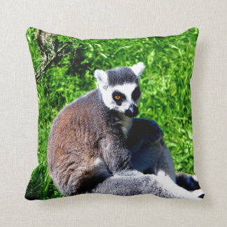 lemur monkey peace and relax throw pillow