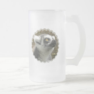 Lemur Photo Frosted Beer Mug