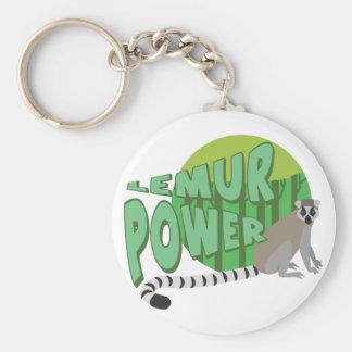 Lemur Power Basic Round Button Keychain