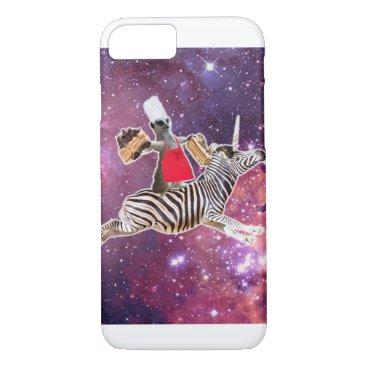 Lemur Riding Zebra Unicorn Eating Cake iPhone 8/7 Case