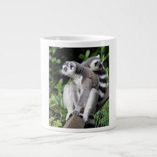 Lemur ring-tailed cute photo bone jumbo mug, gift large coffee mug