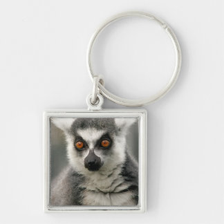 Lemur Silver-Colored Square Keychain