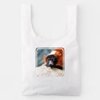Lemur superado rojo de reclinación bolsa reutilizable