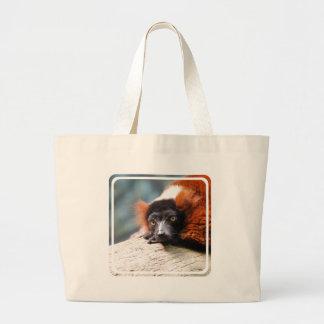 Lemur superado rojo de reclinación bolsa tela grande