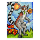 """Lemur """"With Thanks"""" Greeting Cards"""