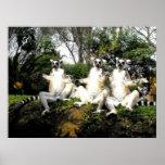Lemurs atados anillo que calientan en primavera póster