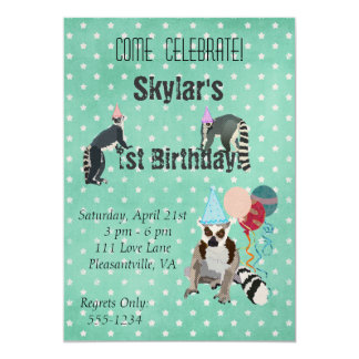Lemurs Birthday Star Invitation