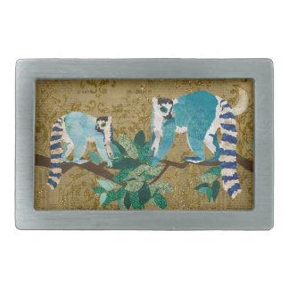 Lemurs hacia fuera en una hebilla del oro de la co hebillas cinturón rectangulares
