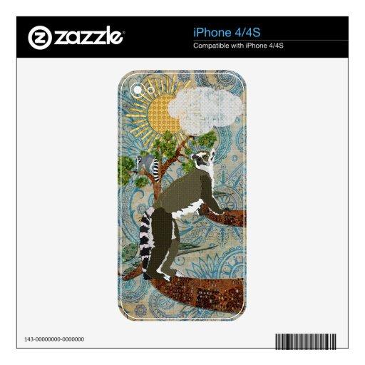 Lemurs hacia fuera en una piel del azul de Boho de iPhone 4S Skins