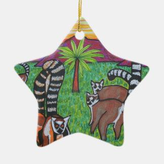 Lemurs in the grass ceramic ornament