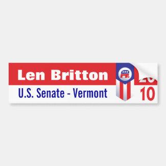 Len Britton U.S. Senate Vermont Car Bumper Sticker