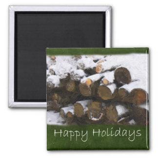 Leña con nieve - buenas fiestas imán para frigorifico