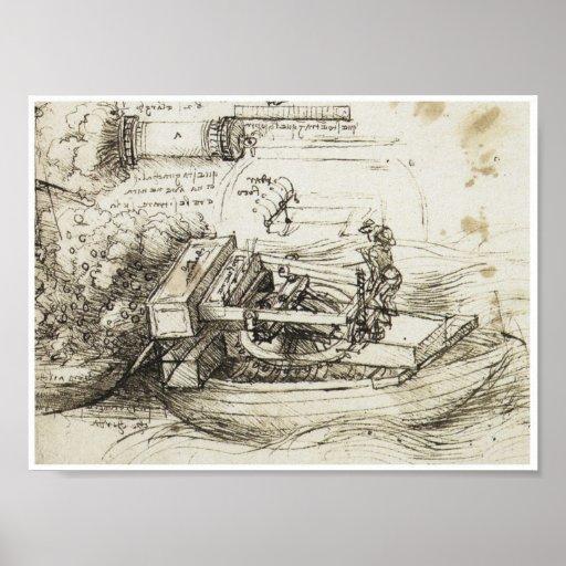 Leña de un barco, Leonardo da Vinci, 1485 del mort Póster