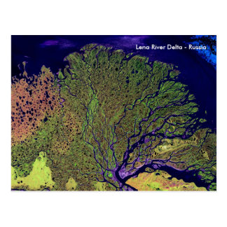 Lena River Delta from Space - Russia Post Card