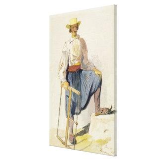 Leñador griego, el 13 de junio de 1856 (pluma, tin impresiones en lona estiradas