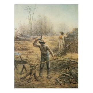 Leñador que prepara la leña por el mijo de Jean Tarjeta Postal