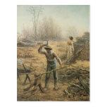 Leñador que prepara la leña por el mijo de Jean Postales