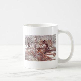 Leñadores en la nieve taza