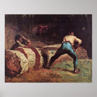 Leñadores que asierran la madera por el mijo de Je Póster