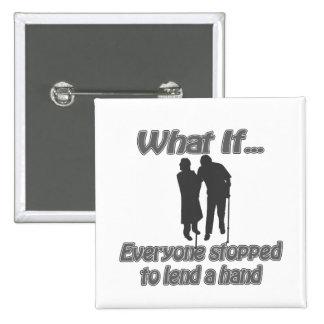 lend a hand pinback button