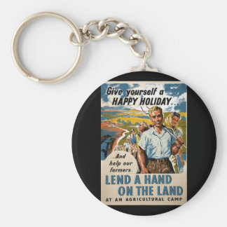 Lend a hand on the land at_Propaganda poster Basic Round Button Keychain