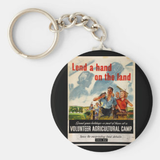 Lend a hand on the land_Propaganda Poster Basic Round Button Keychain