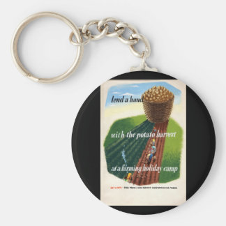 Lend a hand with the potato_Propaganda Poster Basic Round Button Keychain