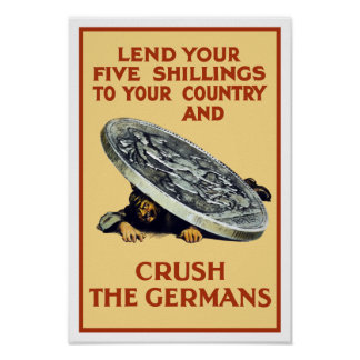 Lend Your Shillings - Crush The Germans Poster