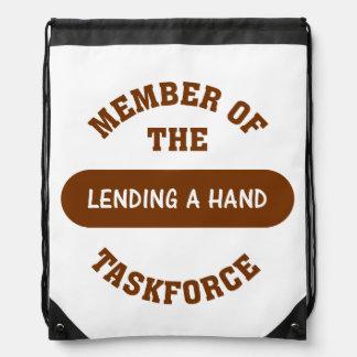 Lending a Hand Drawstring Backpacks