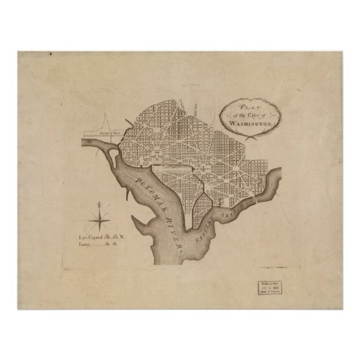 L 39 Enfant 39 S Plan Of Washington Poster Zazzle