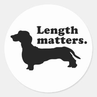 """Length Matters."" (Dachshund) Classic Round Sticker"