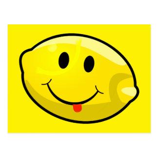 Lengua amarilla sonriente del limón tarjeta postal