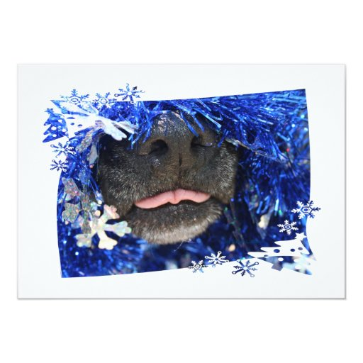 """Lengua de la opinión del navidad del perro hacia invitación 5"""" x 7"""""""