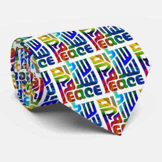 Lengua de la paz/hebreo/inglés/árabe corbata personalizada