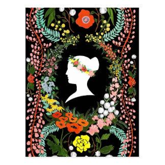Lengua de la postal en blanco de las flores