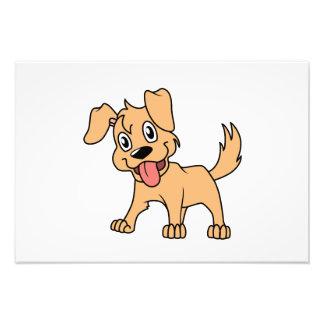 Lengua de perro linda feliz de perrito de Brown Impresion Fotografica