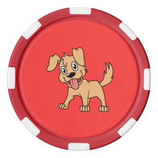 Lengua de perro linda feliz de perrito de Brown Juego De Fichas De Póquer