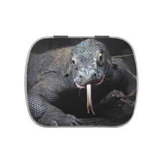lengua del dragón de komodo hacia fuera drooling jarrones de caramelos