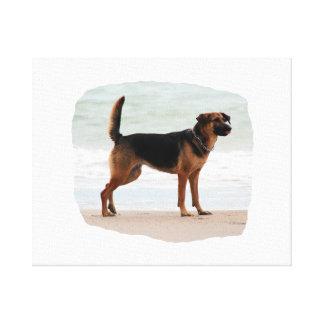 Lengua del soporte de la playa del pastor alemán h impresión en lienzo