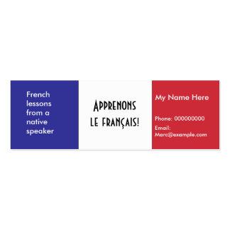Lengua francesa de enseñanza -- Tarjetas de public Plantillas De Tarjetas Personales