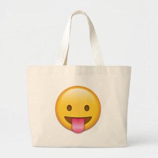 Lengua-Hacia fuera Emoji fresco Bolsa Tela Grande