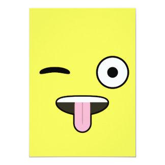 """Lengua hacia fuera Emoji Invitación 5"""" X 7"""""""