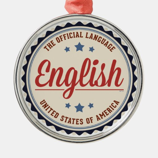 Lengua oficial de los E.E.U.U. Adorno Navideño Redondo De Metal