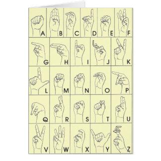 Lenguaje de signos americano A a Z del ASL Tarjeta De Felicitación