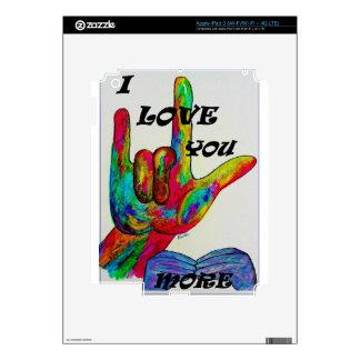 Lenguaje de signos americano del ASL TE AMO MÁS iPad 3 Pegatinas Skins