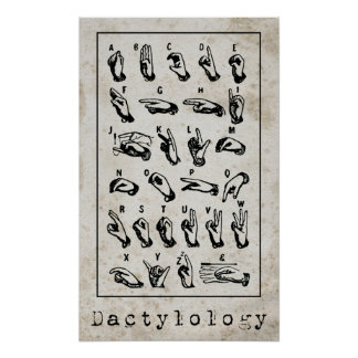 Lenguaje de signos de la dactilología póster